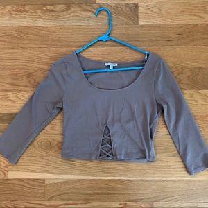 Brown gray crop top 3/4 length sleeves